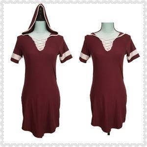 No Boundaries Hooded Crisscross Jersey Dress M